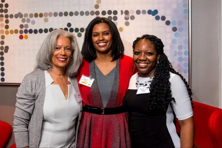 Attending the Women Presidents' Organization and 100 Black Men of Philadelphia event at the Warwick Hotel Dec. 5 are (left to right): Jane Bell, mother of honoree Tracey Jasey; Tracey Jasey, a partner at MPI Business Valuation and Advisory; and Stacy Cann, a senior paralegal at Aramark Healthcare.