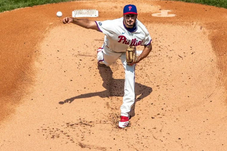 Phillies starter Zach Eflin pitching against the San Francisco Giants at Citizens Bank Park in April.