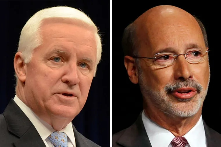 Pa. governor Tom Corbett (left), the GOP incumbent, seeks a 2nd term, while Democratic challenger Tom Wolf (right) looks to unseat him.