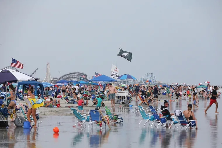 Crowds gather at the beach Wildwood. The three mayors of the Wildwoods are considering beach tags, or other tourist taxes to pay for beach maintenance.