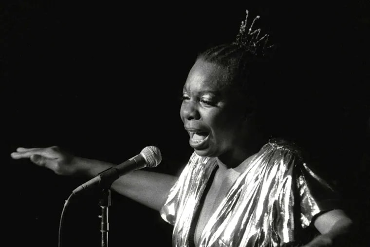 FILE - In this June 27, 1985, file photo, Nina Simone performs at Avery Fisher Hall in New York. Simone will be inducted into the Rock and Roll Hall of Fame on April 14, 2018 in Cleveland, Ohio. The jazzy and soulful Simone, who died in 2003, was an activist in the Civil Rights Movement and influenced the likes of Alicia Keys and Aretha Franklin. (AP Photo/Rene Perez, File)