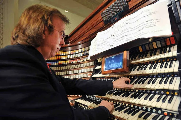 Peter Richard Conte at the keyboards of the Wanamaker Grand Court Organ. The mammoth instrument will be celebrated at Macy's on Wanamaker Organ Day, June 4, 2016. Photo: Sharon Gekoski-Kimmel/ Staff Photographer.