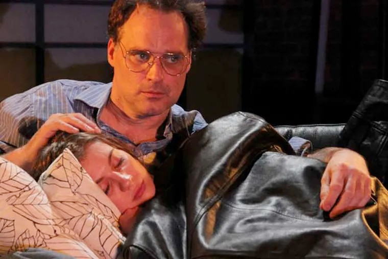 """DSSHUR -- Actors Russ Widdall (as Eddie) and Sarah Van Auken (as Donna) in New City Stage Company's 2013 production of """"Hurlyburly.""""  Photo credit:  Annie R. Such."""