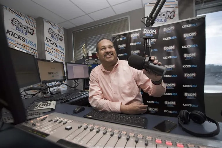 Philly DJ Colby Colb in the Boom 103.9 studio at Bala Cynwyd, PA. Thursday, April 5, 2018