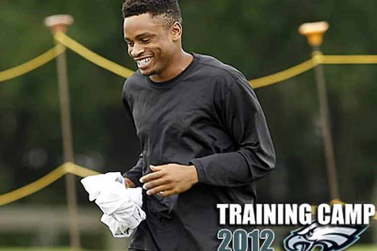 """""""I'm calmer, much more confident in the things I'm doing,"""" Nnamdi Asomugha said. (Yong Kim/Staff Photographer)"""