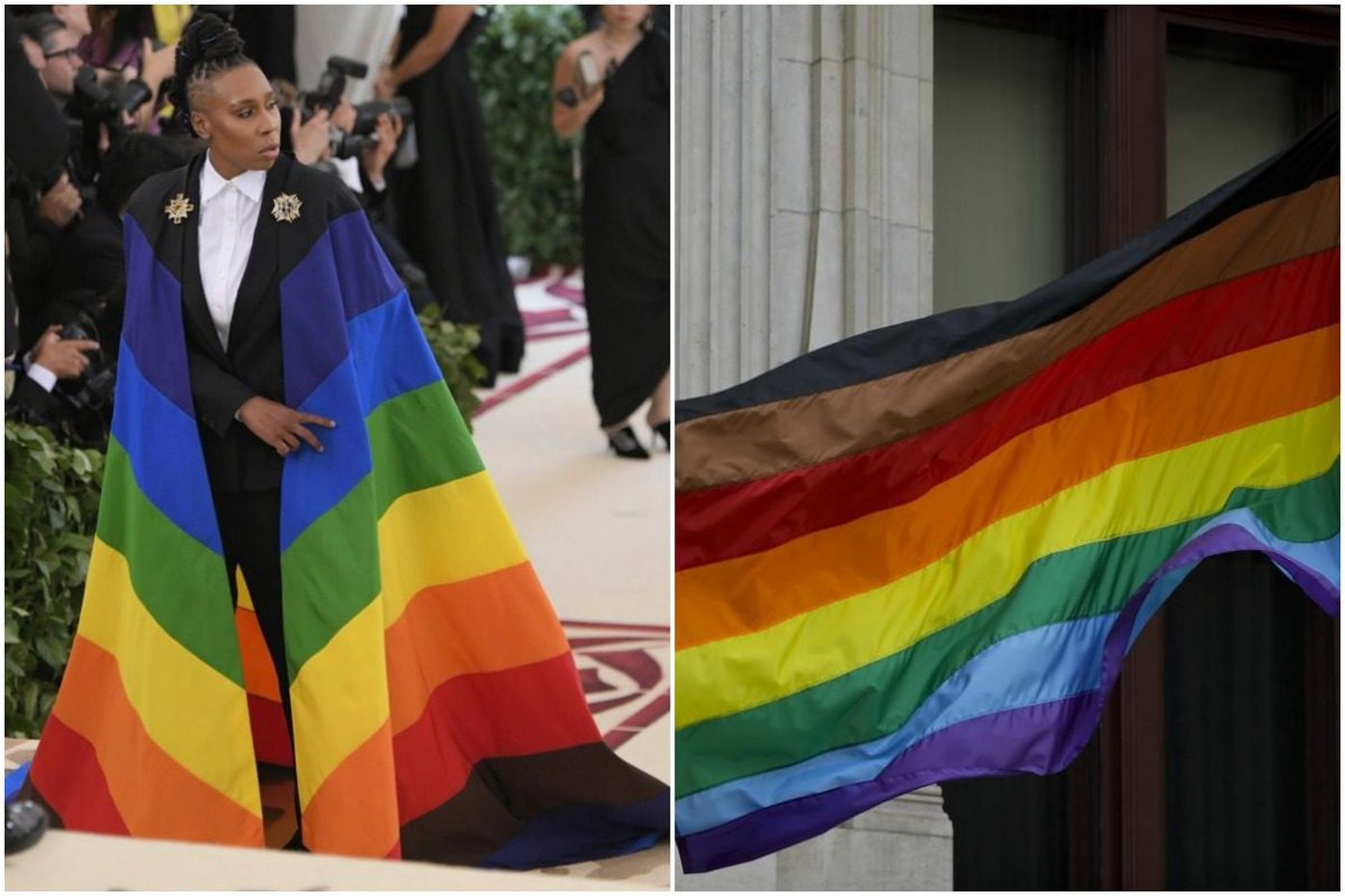 Lena Waithe's rainbow cape at the Met Gala mirrors Philly's LGBT flag