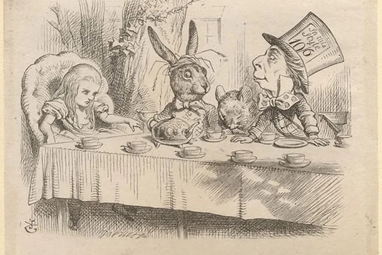 """A John Tenniel illustration for """"Alice,"""" at the Brandywine River Museum."""