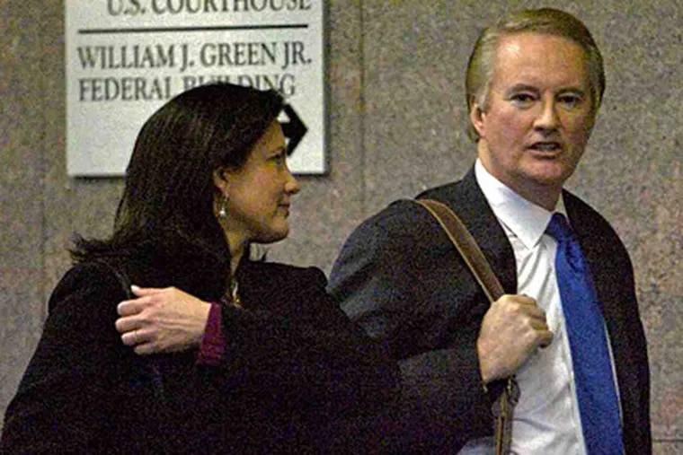 Dawn Stensland Mendte and Larry Mendte after 2008 sentencing in the Alycia Lane email case. (John Costello/File)