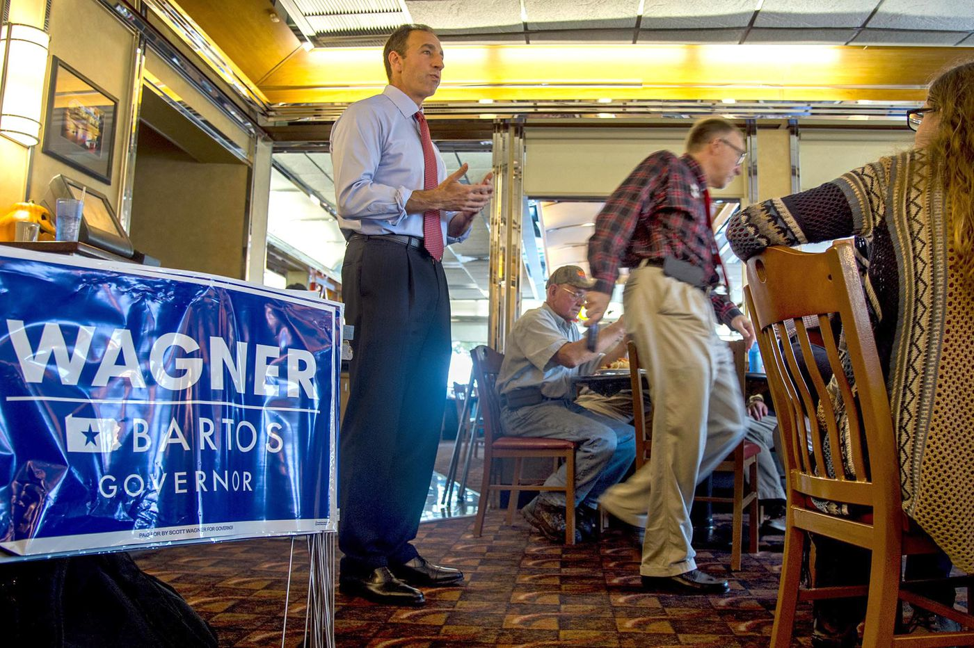 Photos of Republican Jeff Bartos campaigning for lieutenant governor