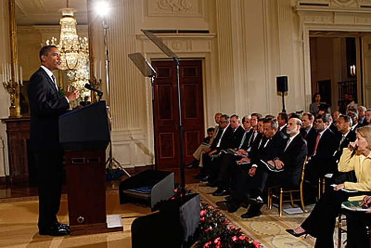 President Barack Obama delivers remarks on the new comprehensive regulatory reform plan, Wednesday, June 17, 2009, in the East Room of the White House. (AP Photo/Pablo Martinez Monsivais)