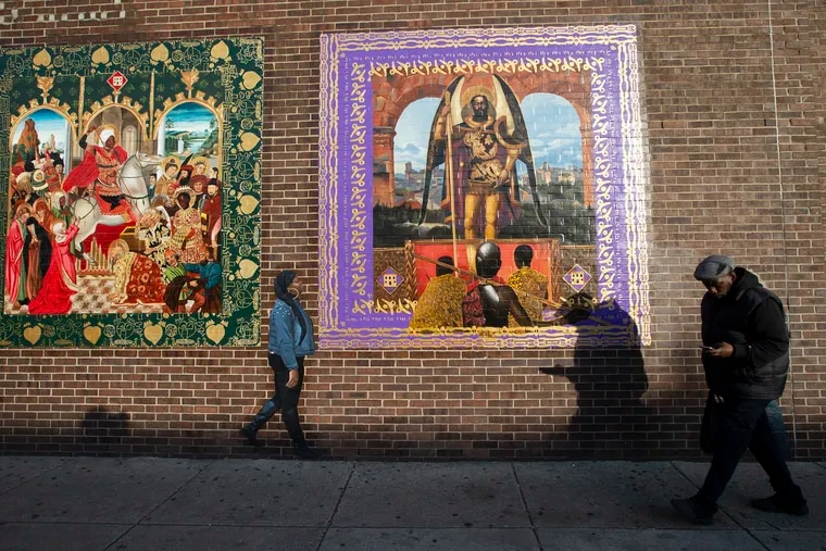 Plans for street improvements on 52nd Street have spurred fears of gentrification in West Philadelphia.  The murals on the Lucien Blackwell Free Library on Feb. 19, 2020.