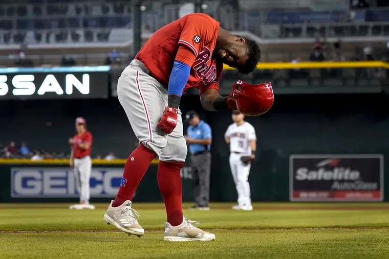 Phillies center fielder Odubel Herrera reacts after being hit by a pitch during the eighth inning Thursday against the Arizona Diamondbacks.