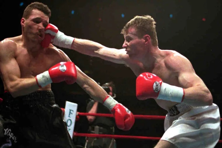 Junior welterweight Micky Ward (right) fought Lewis Veader on April 13, 1996.