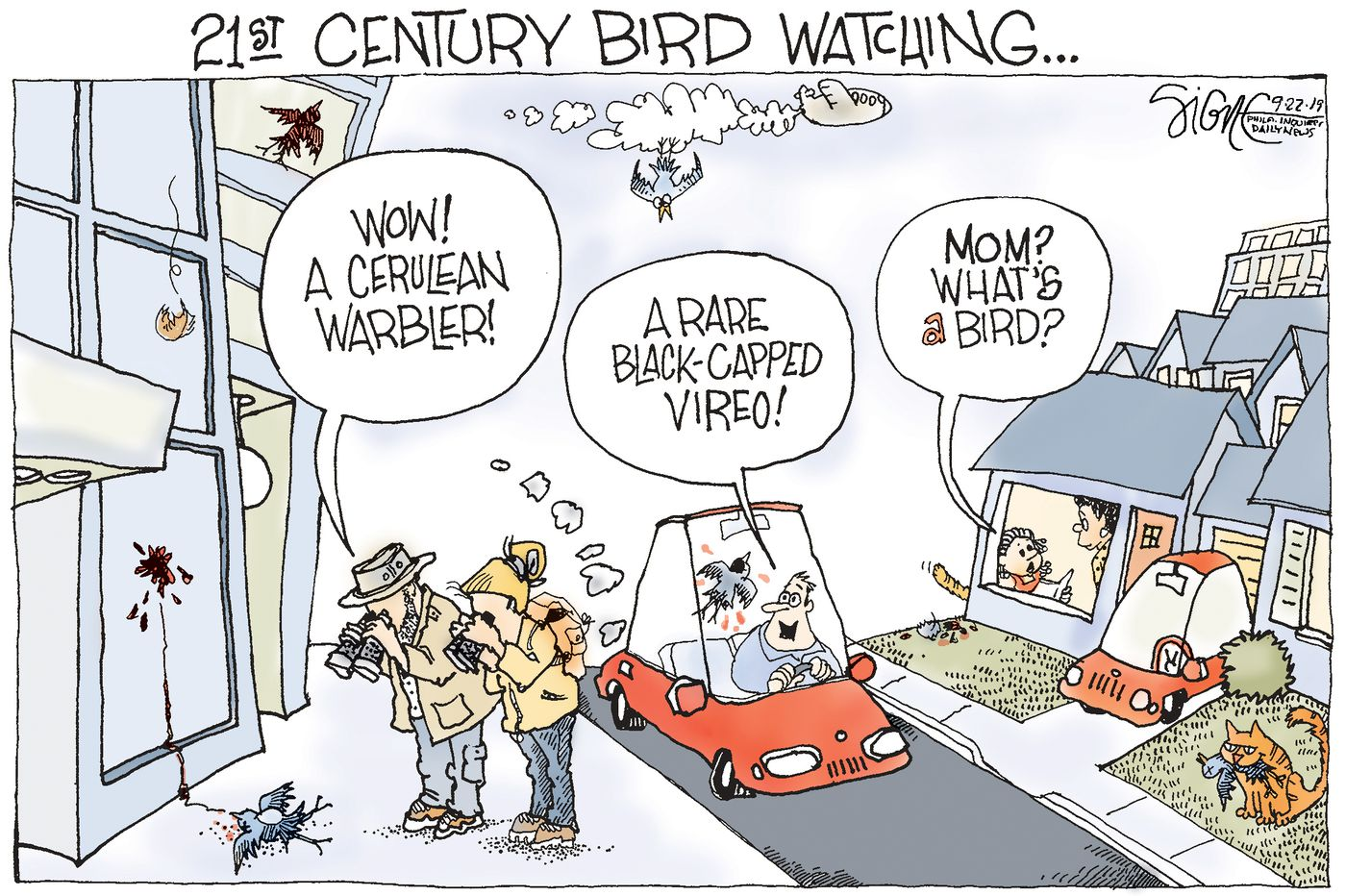 Political Cartoon: Watching birds vanish in humans' nature