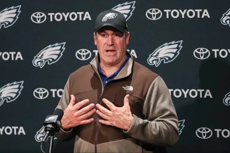Eagles coach Doug Pederson speaks at his press conference Monday.