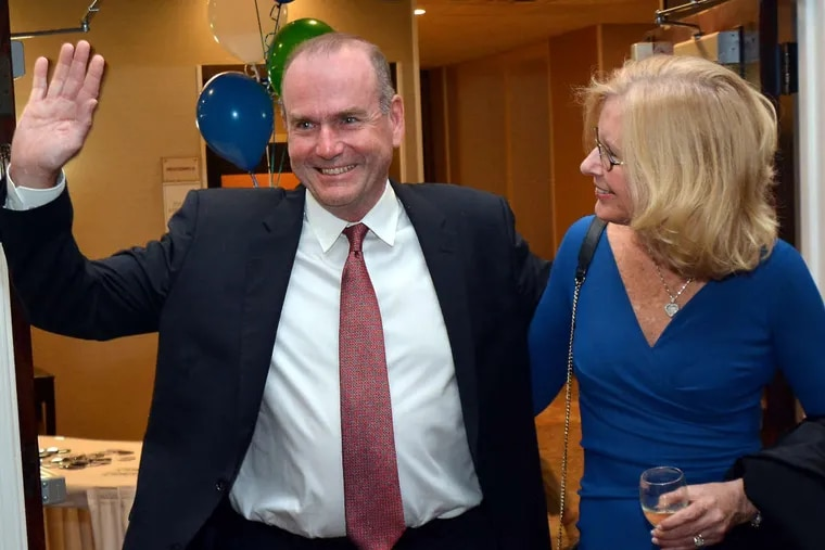Scott Wallace, First District Democratic congressional candidate, with his wife, Christy, greets his supporters after his primary victory over opponent Rachel Reddick.