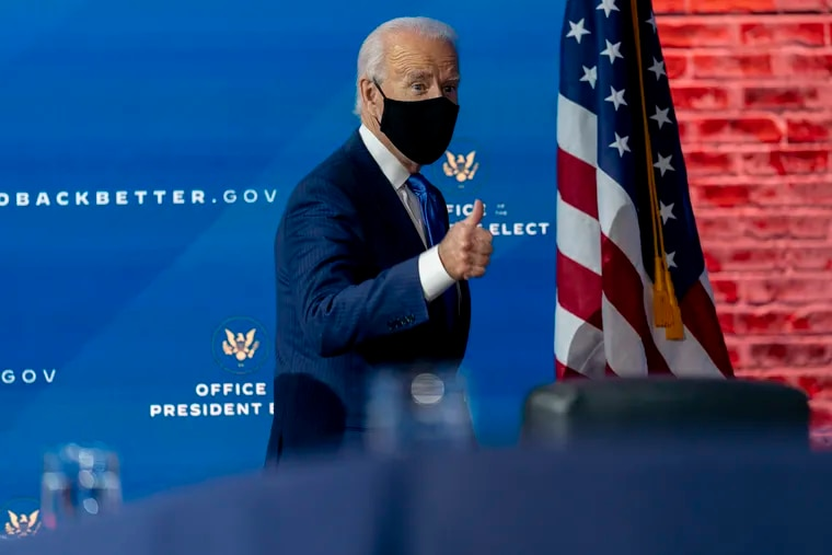 Joe Biden said he will ask Americans to commit to 100 days of wearing masks as one of his first acts as president.