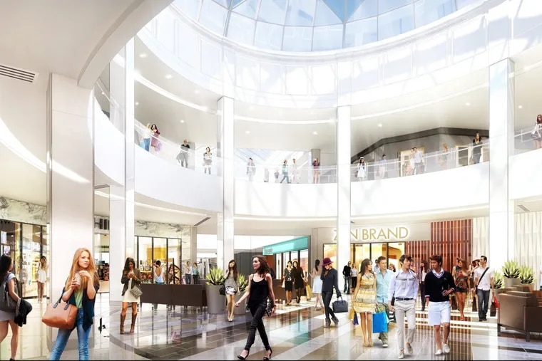 Artist's rendering of former Plaza section of King of Prussia Mall after planned upgrades.