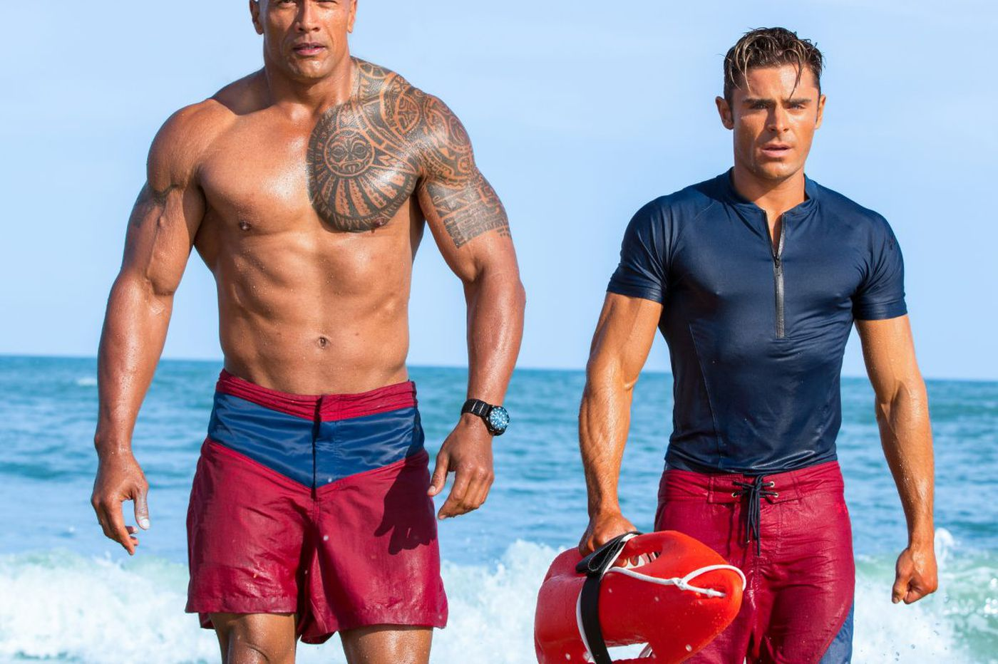 Zac Efron between The Rock and a hard place in 'Baywatch'