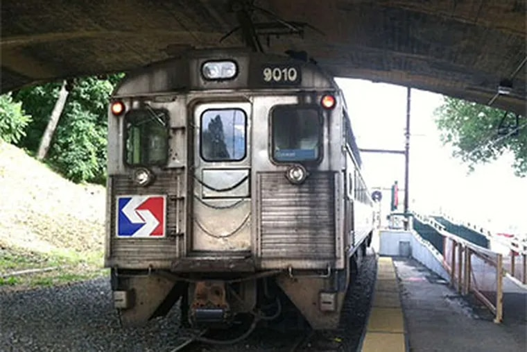 """Train 9010 at the Cynwyd station. It will make its last run there from Suburban Station. This """"Silverliner II"""" car was built in 1963."""