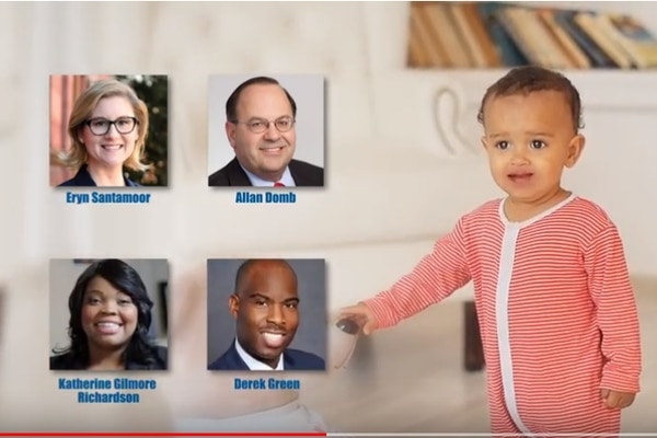 Talking baby TV ad funded by development interests to promote four Council at-large candidates