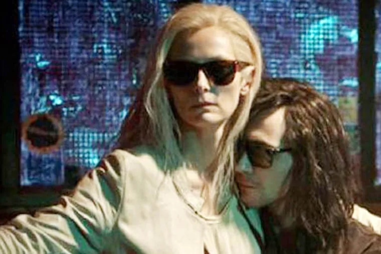 """Tilda Swinton and Tom Hiddleston in """"Only Lovers Left Alive."""" A depressed musician reunites with his lover, though their romance - which has already endured several centuries - is disrupted by the arrival of uncontrollable younger sister."""