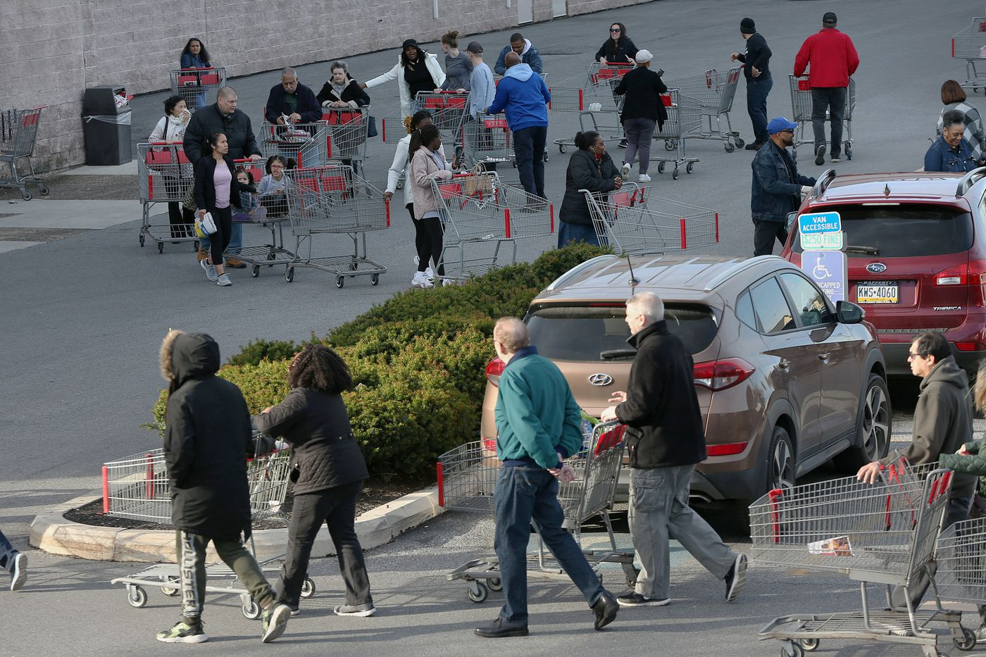 Hundreds of shoppers wind their carts through rows of parking spaces as they line up to enter BJ's Wholesale Club in Springfield when it opened at 9 a.m. on Saturday.