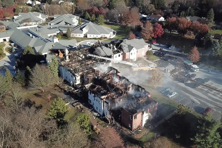 A five-alarm fire ravaged a large nursing home complex, Barclay Friends Senior Living, in West Chester late Thursday night into Friday morning, forcing the evacuation of scores of residents into 40-degree temperatures.
