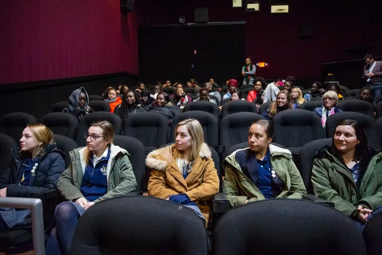 """Local high school students attend a screening of the film """"On the Basis of Sex"""" at the Riverview Movie Theatre, hosted by Inquirer & Daily News columnist Jenice Armstrong in Philadelphia on Thursday, Dec. 06, 2018. The movie is based on the life of Ruth Bader Ginsburg. HEATHER KHALIFA / Staff Photographer"""