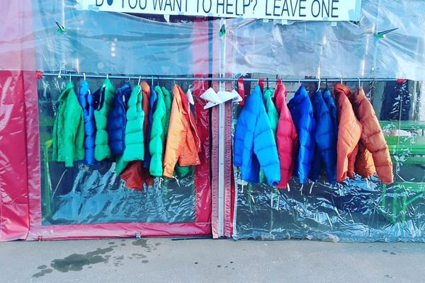 Taco shop's give-a-coat, take-a-coat policy helps those in need during cold months