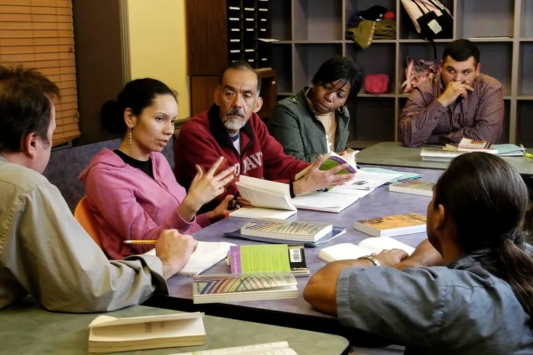 Adult students enrolled in Free Minds, an Austin, Texas, program offering free college humanities courses.