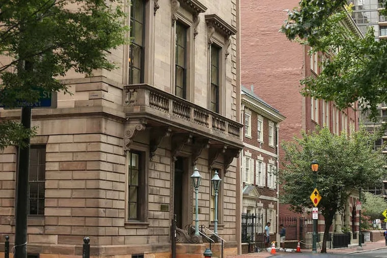 The three-story Dilworth House, located on Sixth Street on Washington Square, is sandwiched between the Lippincott condos and the Athenaeum of Philadelphia. A developer is seeking to build a condo tower behind the colonial-style property.