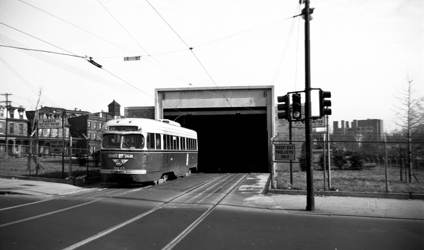This view of the 40th Street Trolley Portal was shot after the the tunnel opening in 1955, when Philadelphia's transit system was run by the PTC.