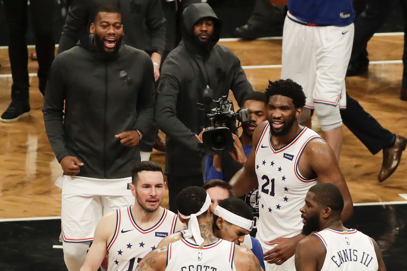 3fef1a2c9d03 Sixers beat Nets to take 3-1 series lead as Joel Embiid dominates and Mike  Scott sinks clutch shot