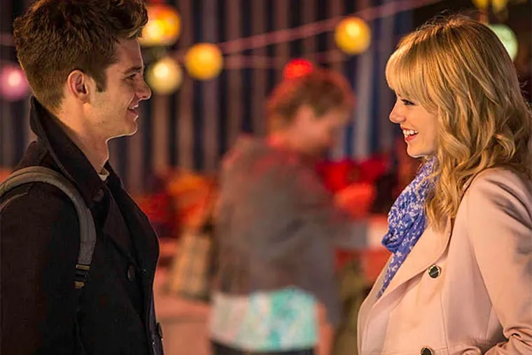 Andrew Garfield , as Peter Parker/Spidey, is having a bittersweet time with Emma Stone, as Gwen.