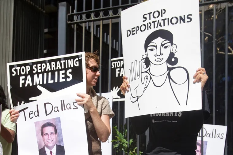 Protesters rally outside the Philadelphia office of Pennsylvania Human Services Sec. Ted Dallas on Sept.. 14, 2015, to deliver a report alleging human rights abuses at the Berks County Residential Center.
