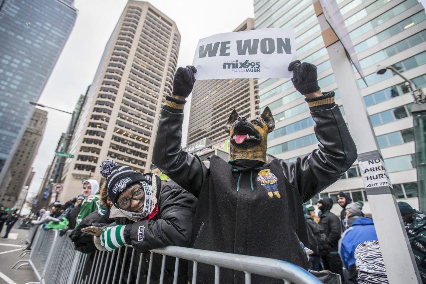 Masses of Eagles fans descend upon Philadelphia as the city's first Super Bowl parade begins
