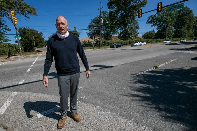 Jack O'Hara, president of the Greater Bustleton Civic League, near the proposed site for a UPS warehouse development on Red Lion Road near Country Club Boulevard.