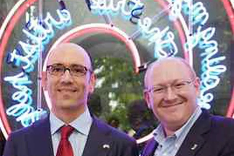 Philadelphia Museum of Art curators Carlos Basualdo (left), of contemporary art, and Michael R. Taylor, of modern art, hold the top Biennale honor. The Bruce Nauman triumph stakes a claim for the museum in contemporary art.