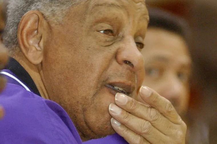 Clarence Turner, seen here in 2004 on the night of his 700th career victory at Camden High School, died Sunday, Oct. 20, 2013. He was 81. (FILE)