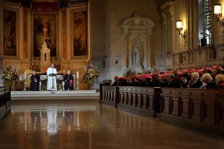 Pope Francis addresses the Bishops in St. Martin of Tours Chapel at St. Charles Borromeo Seminary September 27, 2015. At left is Archbishop Charles Chaput of Philadelphia, and Rev. Timothy Senior, rector of St.Charles and Auxiliary Bishop of Philadelphia is seated at right. Main Line Health purchased the Lower Merion seminary property last month.
