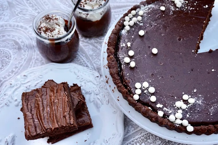 Three chocolate recipes to have in your dessert arsenal: chocolate ricotta pie, pots de creme, and a double chocolate brownie.