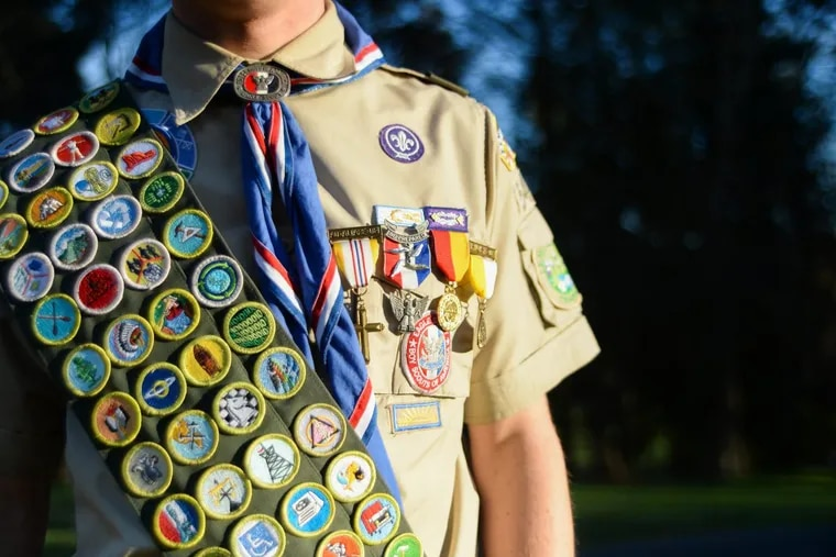 Zachary Rotzal, 17, earned all 139 merit badges, a rare feat accomplished by so few that the provided sash does not hold them all and Rotzal had to sew an extension onto his sash to accommodate them all.