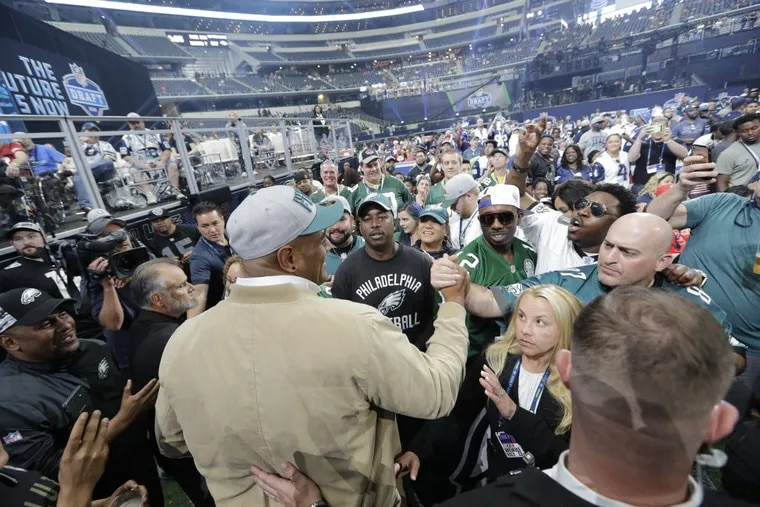 Australian rugby player Jordan Mailata greeting fans after being drafted by the Eagles in the seventh round.