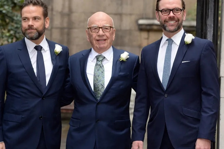 Rupert Murdoch in London with sons James, right, and Lachlan, on March 5, 2016. The 86-year-old tycoon and his sons appear willing to sell some of their prized 21st Century Fox media assets.
