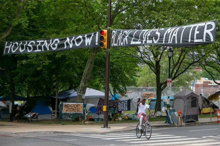 Intersection of 22nd and Ben Franklin Parkway. A press conference was held at the homeless encampment at 22nd and Ben Franklin Parkway on Wednesday afternoon June 17, 2020. This group is asking for the city of Philadelphia to address the homeless issue.