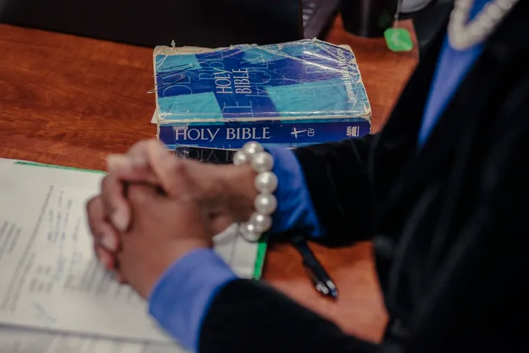 A copy of the Bible rests on a conference room table at Miracle Hill Ministries in Greenville, S.C.