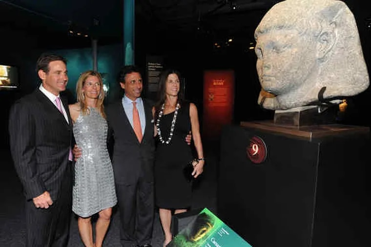 """Ed and Kim Garno (left) with David and Christine Martinelli, cochairs of the cocktail reception and buffet dinner opening the Franklin's Institute's exhibition """"Cleopatra: The Search for the Last Queen of Egypt."""" More than 500 guests attended."""