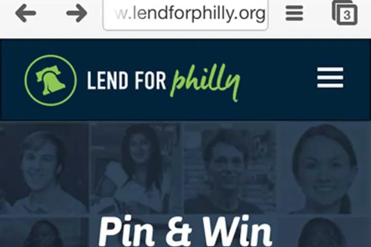 screen grab from app for LendforPhilly.org. for use with LEND05