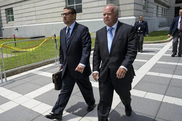 David Wildstein (left)  with his attorney Alan Zegas at federal court in Newark, N.J.